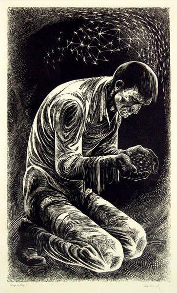 man burying