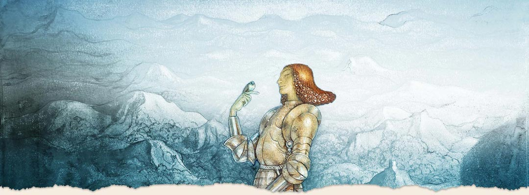 Story Tour header - person with bird and mountains
