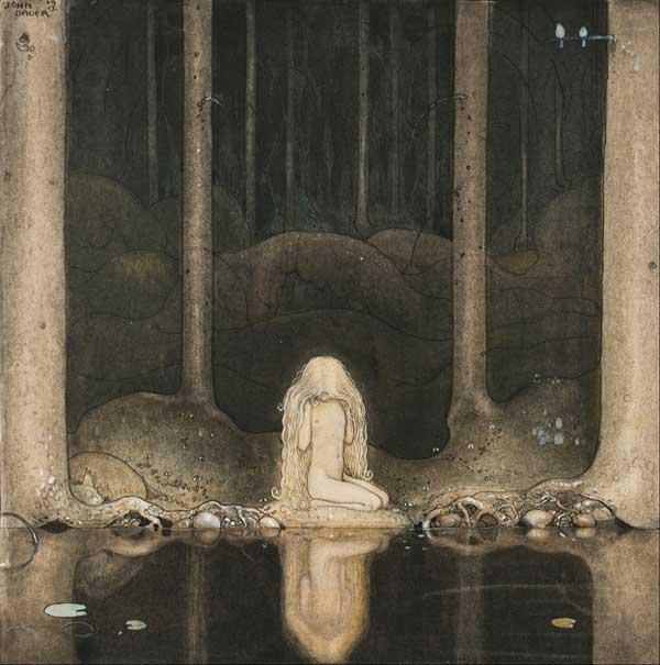 John Bauer girl by water