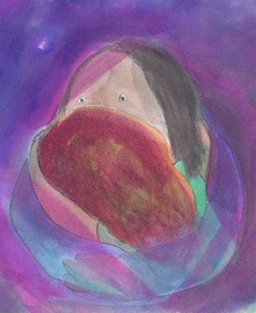 purple woman holding